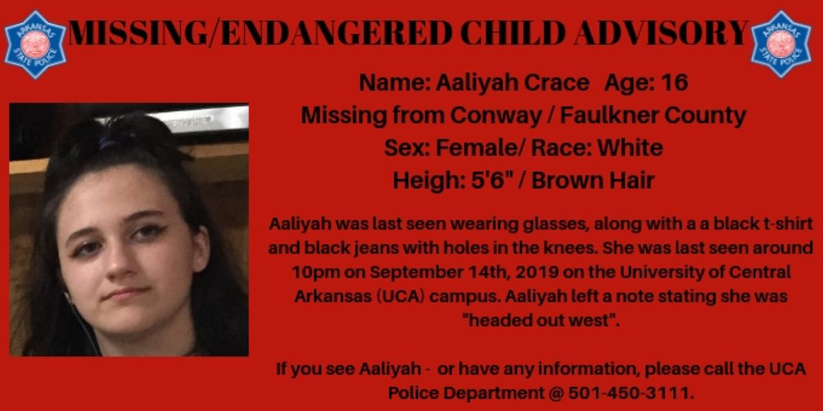 Arkansas State Police issue missing/endangered child alert