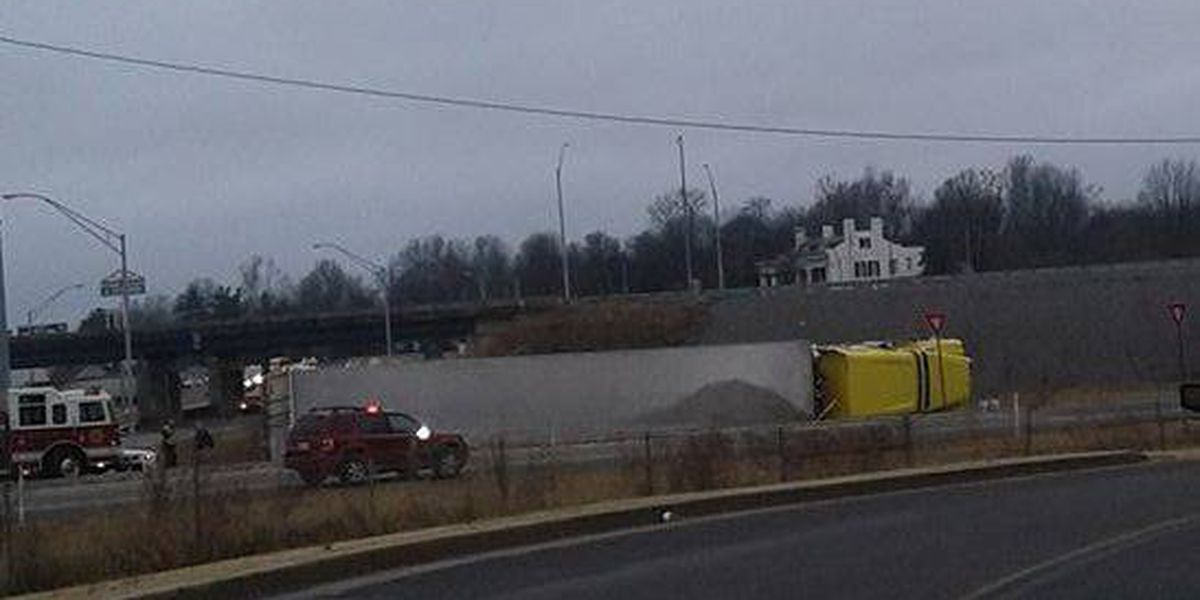 Semi rolled over blocking I-24 near Paducah, KY