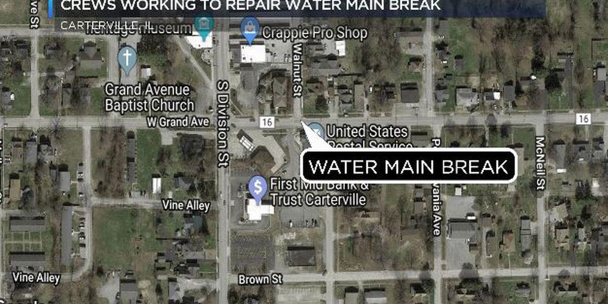 Crews respond to 'large' water main break in Carterville