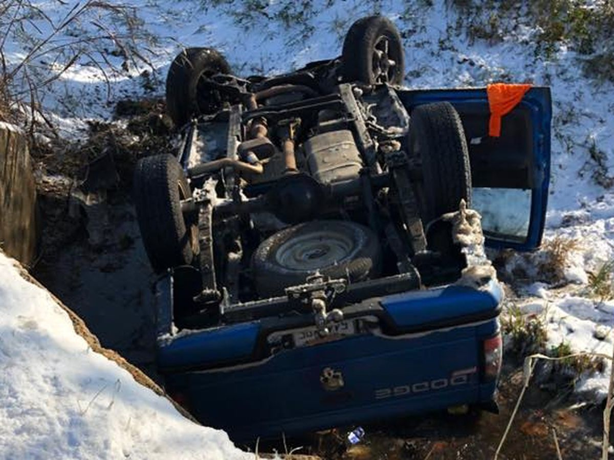 19-year-old driver loses control on icy road, overturns in ditch