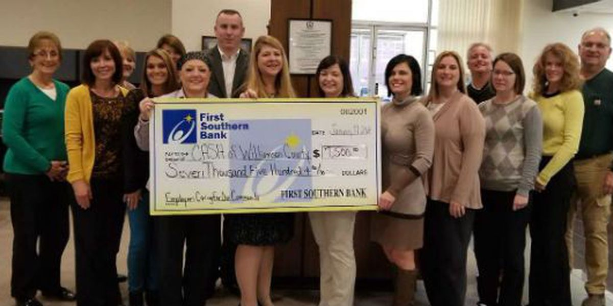 First Southern Bank employees donate $7500 to two local charities