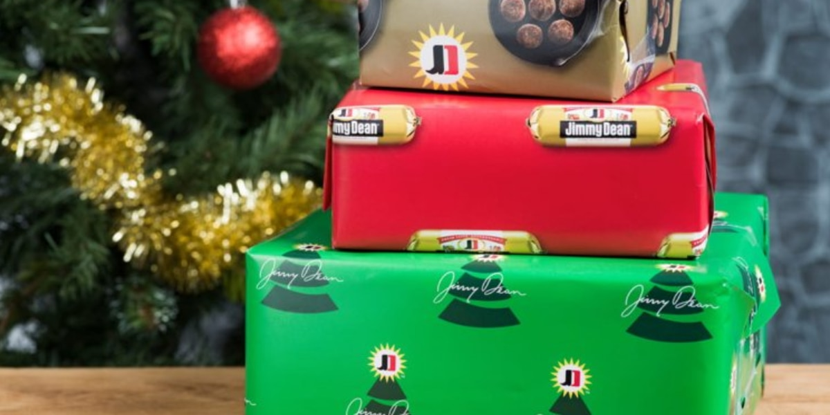 Jimmy Dean's sausage-scented wrapping paper lets you give the gift of Christmas breakfast