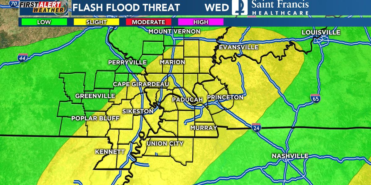 First Alert: Heavy rain, flash flooding concerns today and Thursday