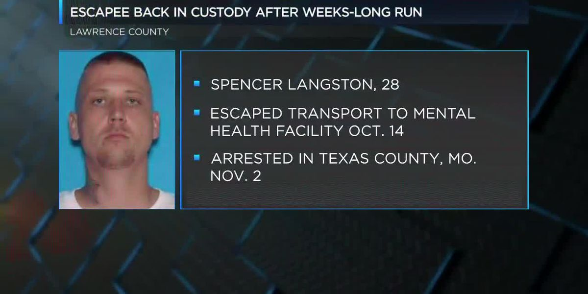 Escaped inmate back in custody following weeks-long search