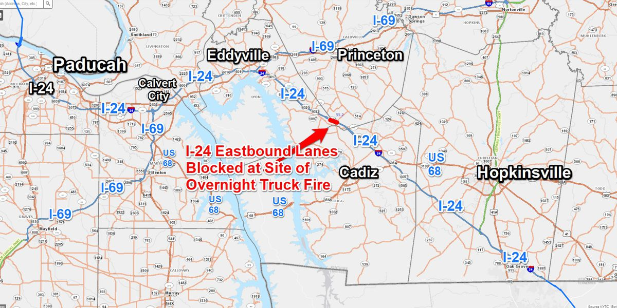 Eastbound I-24 opens to 1-lane traffic after SEMI truck fire at 55.5mm